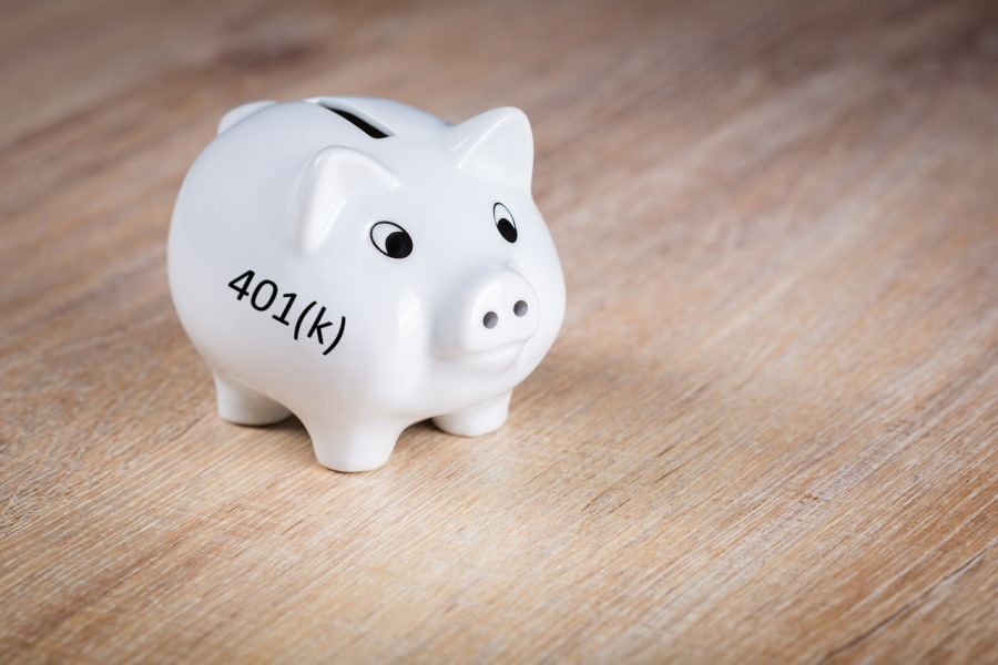 White Piggy Bank - 401(k) retirement plan