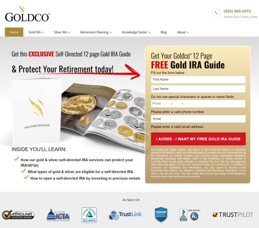 goldco website screenshot