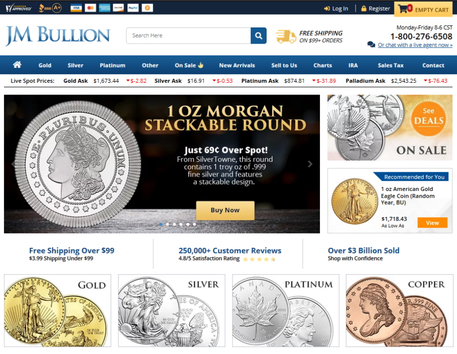JM Bullion Website Screencapture